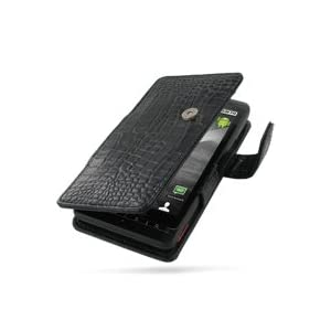 PDair Leather case for Motorola DROID X MB810 - Book Type (Black/Crocodile Pattern)