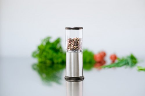 AdHoc Schuhbecks Manual Spice Mill Stainless Steel/Acrylic with Ceramic Grinding Mechanism, Height 16cm (H. Nr. AS02)