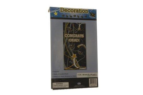 Congrats Grad Black Gold & Silver Door Decoration 33 X 63 by Dig