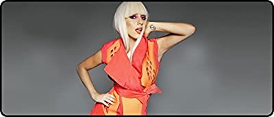 Portable with Extended Lady Gaga Orange Dress Super Big Mousepads 700x300x4mm(27.56x11.80x0.16inch)