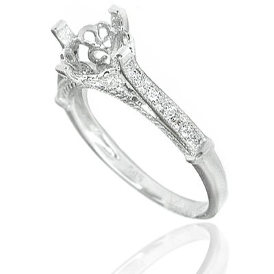 DIAMOND SETTING DECO VINTAGE ANTIQUE SEMI-MOUNT RING