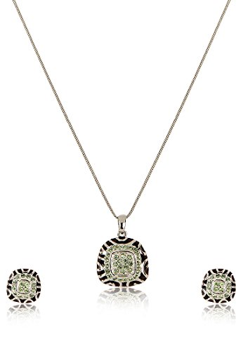 Estelle Estelle Silver Plated Necklace Set With Crystals For Women (Transperant)