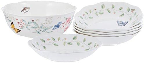 Lenox Butterfly Meadow 7 Piece Pasta/Salad Set White Dinnerware (Lenox Pasta Set compare prices)