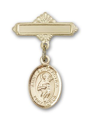 Gold Filled Baby Badge with St. Scholastica Charm and Polished Badge Pin St. Scholastica is the Patron Saint of Nuns/Storms