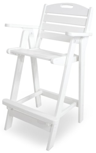 POLY-WOOD NCB46WH Nautical Bar Chair, White