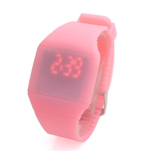 Jovivi Ultra-Thin Unisex Boy And Girl Touch Screen Led Digital Silicone Sport Wrist Watch - Pink