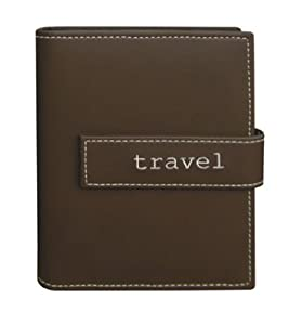 """4""""x6"""" 1-up 36 Photos Expressions Embroidered Magnetic Strap Album - Brown Travel"""