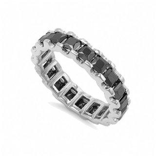 Kharma's Jet Black Cubic Zirconia Princess Cut Eternity Ring - 7