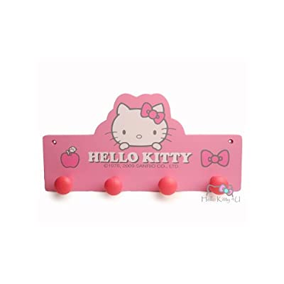 Hello Kitty Wall Plaque Coat Hanger - Pink Ribbon