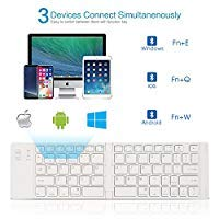 Foldable Bluetooth Keyboard, IKOS Ultra Slim Mini BT Folding Keyboard For iPhone X 8 7 6S 6 Plus, iPad Mini/Pro / Air, Samsung and all other Android Smartphones/Tablets, and Windows System Device (Color: Silver & White)
