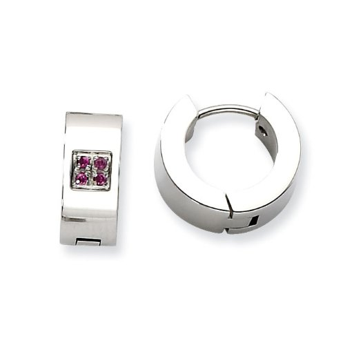 Stainless Steel Pink CZ Polished Round Hinged Hoop Earrings - JewelryWeb