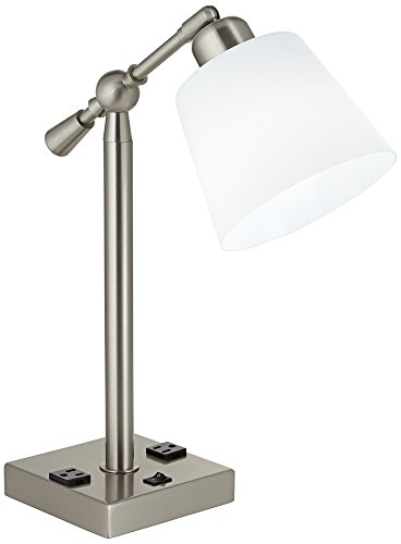 Brushed Steel Desk Lamp with Power Outlets