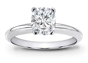 1 Carat GIA Certified Solitaire Platinum Cushion Cut Diamond Engagement Ring (I Color VVS1 Clarity)