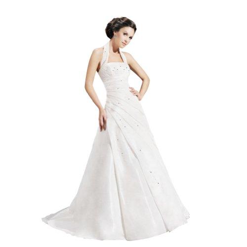 GEORGE BRIDE A-Line Princess Halter Chapel Train Taffeta Wedding Dress With Beaded Appliques Size 4 White