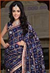 Navy Blue Faux Cotton Ghatchola Saree with Blouse