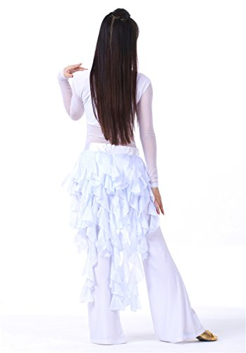 Dreamspell White nine-tailed Fox Chiffon Leaf Skirt Belly dance Hip Scarf belt