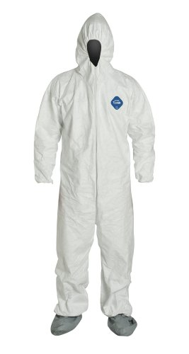 DuPont TY122S Tyvek Disposable Coverall with Hood and Boots, Elastic Cuff