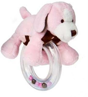 Mary Meyer Sweet Chocolate Puppy Ring Rattle - Pink - 1