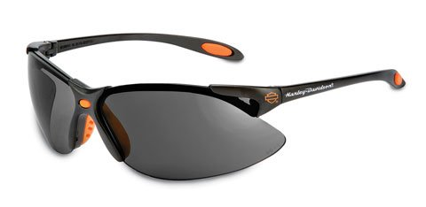 Harley Davidson Safety Glasses Black-Orange Frame Gray Hardcoat Lens, #HD1201