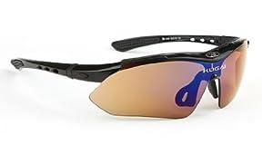 UV400 レンズ5枚 サングラスフルセット スポーツサングラス /ツーリング/ドライブ/【カラビナミニLEDライトおまけ付き】 (フレーム黒色)