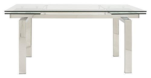 Eurø Style Theodore Glass Top Extension Table with Polished Stainless Steel Frame (Glass Extension Table compare prices)