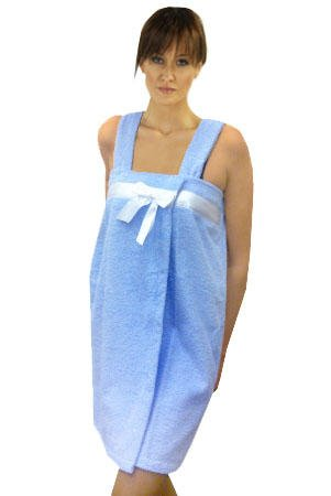 Solid Terry Loop Shower Wrap with White Satin Bow, 100% Cotton, Lt. Blue, One Size