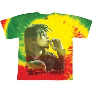 Bob-Marley-Mens-Rasta-Smoke-Tie-Dye-T-shirt-Tie-Dye