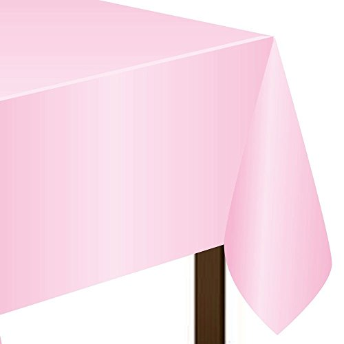 "Amscan Rectangular Plastic Table Cover, Pink, 54"" x 108"""