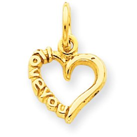 14k Polished I Love You Heart Charm
