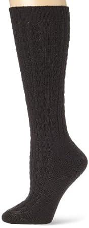 Wigwam Women's Cable Knee High Casual Socks, Black, Medium
