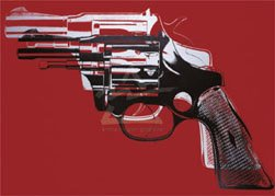 35W x 25H Guns, c. 1981-82 by Andy Warhol - Stretched Canvas w/ BRUSHSTROKES