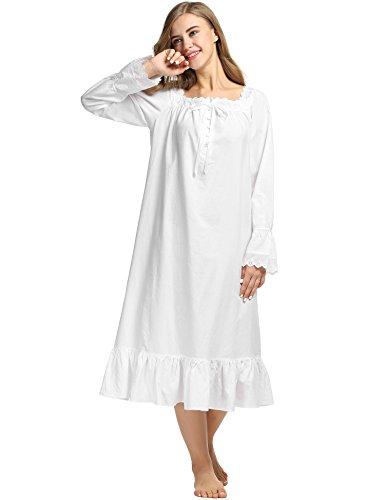 Avidlove Womens Cotton Victorian Nightgowns Romantic Long Bell Sleeve Nightshirt 2