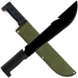 New Trademark 16.5 Inch Serrated Hiking Machete With Pouch Heavy Alloy Steel Blade Plastic Handle