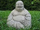 LARGE LAUGHING BUDDHA GARDEN ORNAMENT - STONE WASH EFFECT - FREE P&P