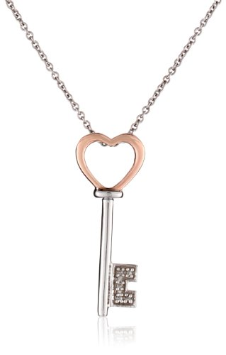 """10K Rose Gold And Sterling Silver Diamond Accent Heart Pendant Necklace (0.02 Cttw) 18"""""""