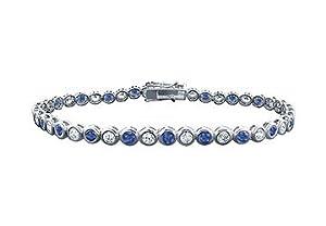 Sapphire and Diamond Tennis Bracelet : Platinum - 3.00 CT TGW