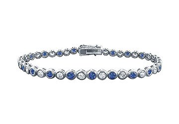 Sapphire and Diamond Tennis Bracelet Platinum - 4.00 CT TGW