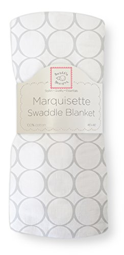 SwaddleDesigns Marquisette Swaddling Blanket, Pastel Mod Circles, Sterling