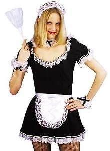 FRENCH MAID APRON HEADBAND LACE COLLAR CUFFS 4 PC ACCESSORY SET AB08 (American Horror Story French Maid Costume)