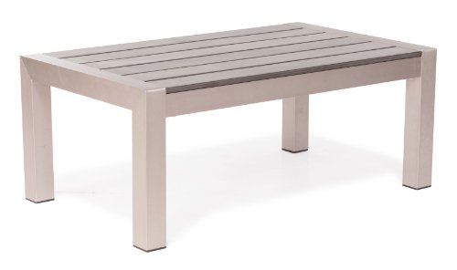 Rivera Modern Brushed Aluminum And Faux Wood Outdoor Coffee Table