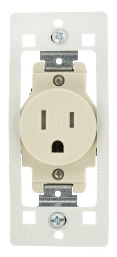 Leviton T5015-C0T Receptacle, Tamper Resistant, Single, 2-Pole 3-Wire, Light Almond