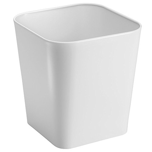 mDesign Steel Wastebasket Trash Can for Bathroom, Office, Kitchen - White (Cheap Bathroom Trash Can compare prices)