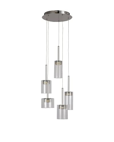 Bel Air Lighting LED Spot 5-Light Spiral-Drop-Pendant, Polished Chrome