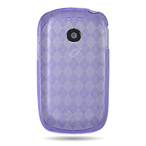 WIRELESS CENTRAL Brand Flexi Gel SKin PURPLE TPU Glove with PLAID CHECKERED Design Soft Cover Case for LG 800G COOKIE STYLE (TRACFONE) [WCJ682]
