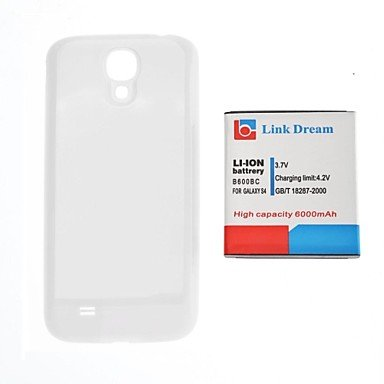 Zaki Link Dream 3.7V 6000Mah Thickened Cell Phone Battery + White Back Cover For S4 I9500 I545 I337 L720 M919 R970 (B600Bc)