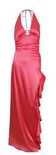 Blondie Nites by Linda Bernell Long Pink Satin Halter Dress Gown (3) [Apparel]