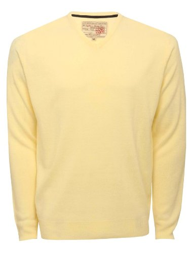 Mens Long Sleeve V Neck Soft Touch Summer Knitwear Jumper Yellow M