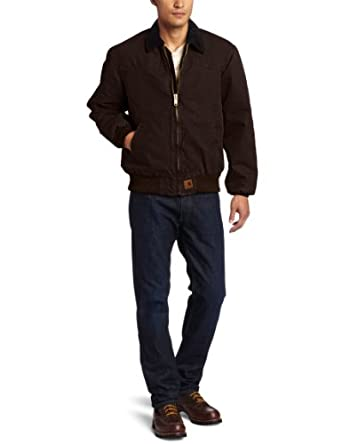 Carhartt Men's Big & Tall Quilt Flannel Lined Sandstone Santa Fe Jacket,Dark Brown (Closeout),Large Tall