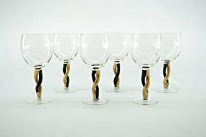 6-PieceSet Of Elegant Wine Glass Gold And Black Twisted Stem Glasses set of 6