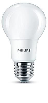 Philips LED E27 Edison Screw Warm Bulb, Frosted, 8 W (60 W) - White Light